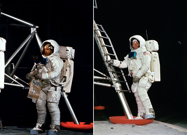 Aldrin e Armstrong durante treinamento da Nasa (Foto: Arquivo/Nasa)