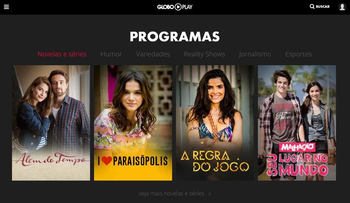 Globo Play conta com os principais programas da TV Globo (Foto: Reprodução/Globo Play)