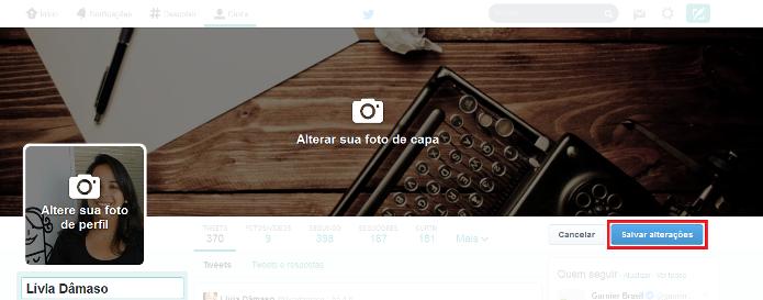 Salvando a nova foto de capa no perfil do Twitter (Foto: Reprodução/Lívia Dâmaso)