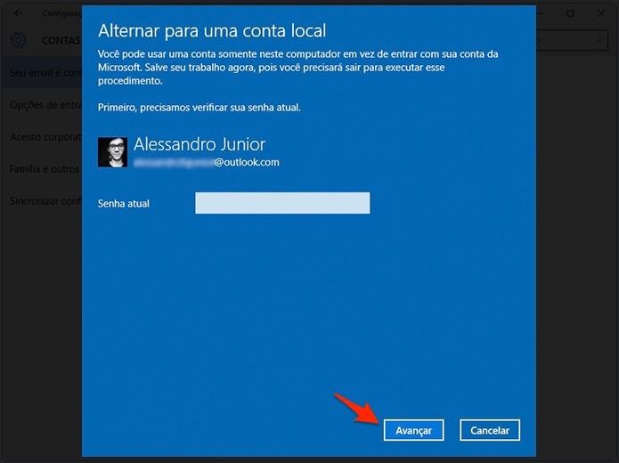 Confirme seus dados atuais para adicionar uma nova conta. (Foto: Reprodução/Alessandro Junior)