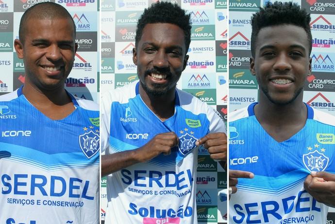 Marcelinho, Acerola e Luquinhas, reforços do Vitória-ES para o Capixabão (Foto: Henrique Montovanelli/Vitória-ES)