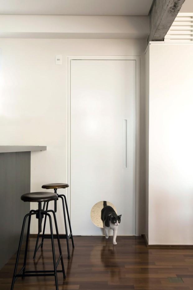 Passagem especial. No apartamento reformado pelo escritório a:m studio de arquitetura, todas as portas têm recortes que permitem a circulação dos três gatos do casal (Foto: Edu Castello / Editora Globo)