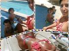 Priscila Pires aproveita piscina ao lado dos filhos