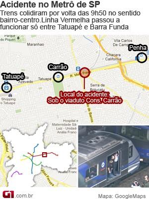 Mapa acidente do Metrô (Foto: Arte/G1)
