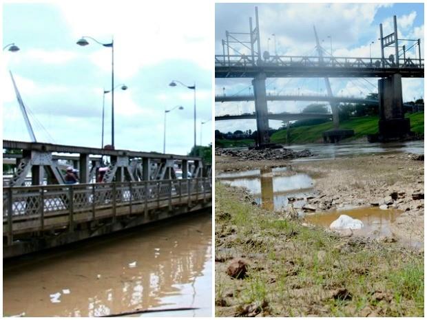 Na foto, tirada no domingo (1), a Ponte Juscelino Kubitschek quase submersa. A foto à direita, tirada em 21 de julho de 2013, mostra uma das menores cotas que o Rio Acre já teve, 2,57 metros. (Foto: Reprodução TV Acre e Rayssa Natani)