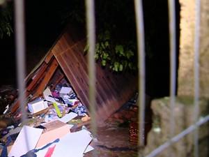 Em Rio Pardo, no Vale do Rio Pardo, mãe e filho morreram depois que uma árvore caiu na casa onde eles estavam (Foto: Reprodução/RBS TV)