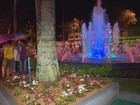 Fonte luminosa é reinaugurada em praça do Centro de Varginha, MG