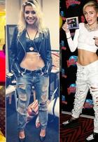 Jeans rasgado segue como tendência entre as famosas nesta temporada