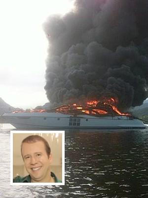 'Rei do Camarote' é dono de lancha avaliada em R$ 11 milhões que pegou fogo no litoral de SP (Foto: Divulgação/Aconteceu em Bertioga, Reprodução/YouTube)
