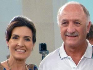 Fátima ficou radiante com a visita de Felipão (Foto: Encontro com Fátima Bernardes/TV Globo)