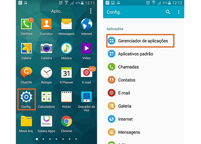 Acesse as configurações do celular Android e selecione o gerenciador de aplicações (Foto: Reprodução/Barbara Mannara)