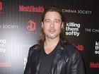 Precisa mais? Todo de preto, Brad Pitt divulga filme nos EUA