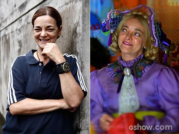 Irreconhecível! Inês Peixoto como Wandas e dona Tê (Foto: A Teia/TV Globo, Meu Pedacinho de Chão/TV Globo)