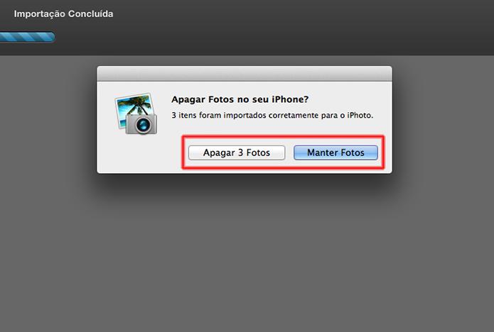 Terminando o processo de importação de fotos do iPhone no Mac através do iPhoto (Foto: Reprodução/Marvin Costa)
