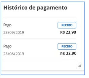 Histórico de pagamentos (Foto: Globoplay Histórico de pagamentos)