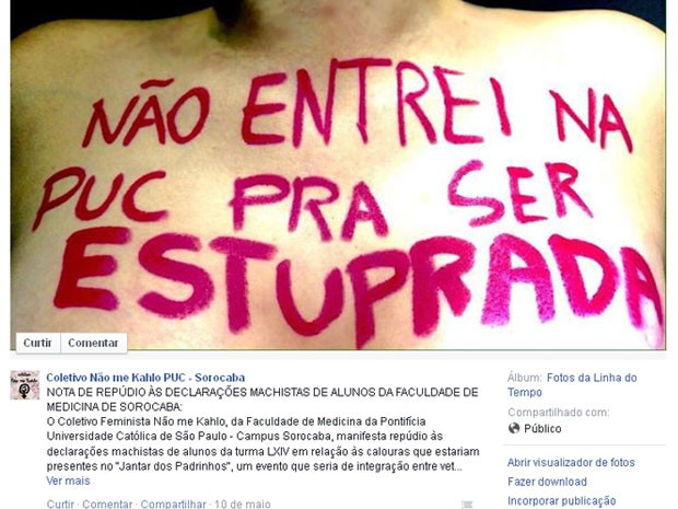 Coletivo de estudantes emitiu nota repudiando comentários que incentivariam estupro (Foto: Reprodução / Facebook)
