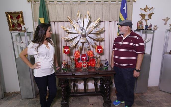 Simone conhece o museu do Divino, na cidade de Amarante (Foto: Gshow/Rede Clube)