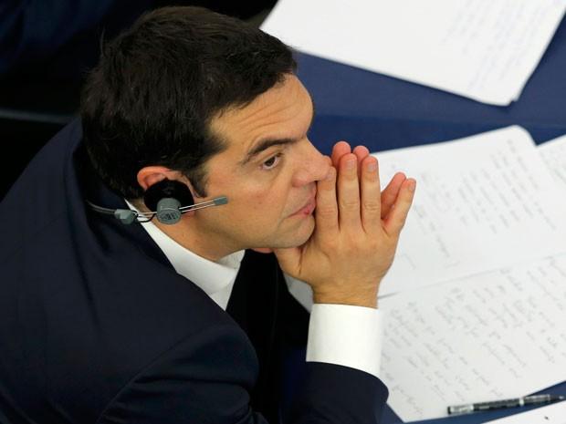 Premiê grego Alexis Tsipras participa de debate sobre a Grécia no Parlamento Europeu, em Estrasburgo (Foto: Reuters)