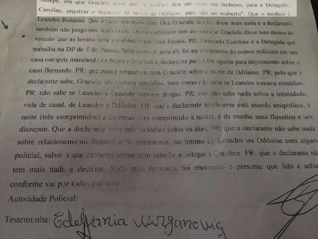 Documento depoimento Edelvânia  (Foto: Jonas Campos/RBS TV)