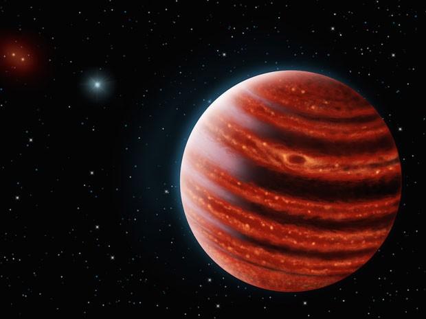 Planeta 51 Eridani b, descoberto a 100 anos-luz da Terra, é semelhate a Júpiter em seus primeiros anos e pode ajudar os cientistas a entenderem a formação dos planetas (Foto: Danielle Futselaar e Franck Marchis/SETI Institute)