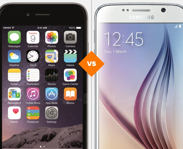 Comparativo Galaxuy S6 e iPhone 6 (Foto: Arte: TechTudo)