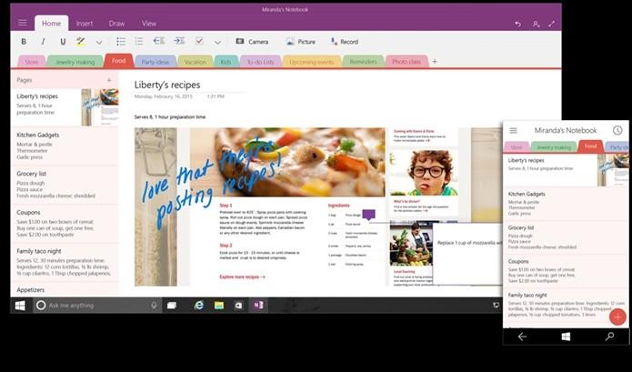 OneNote para Windows 10 (Foto: Divulgação)