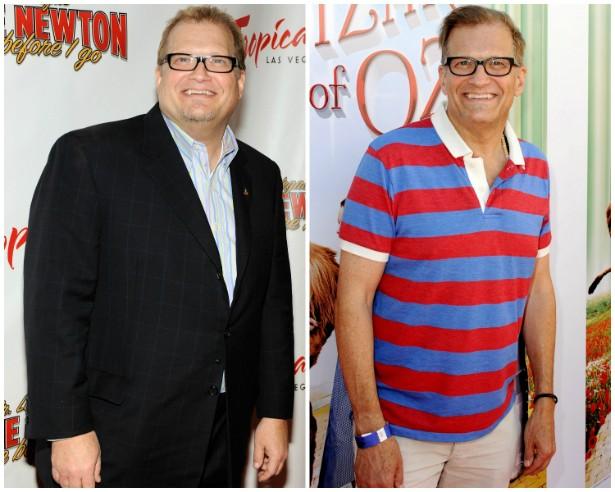 O comediante e apresentador de TV Drew Carey em outubro de 2009 (à esq.) e em setembro de 2013. (Foto: Getty Images)