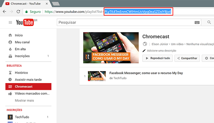 Selecione a ID da playlist do YouTube na barra de endereço (Foto: Reprodução/Elson de Souza)