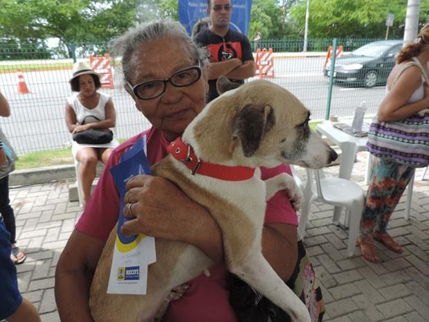 Margarida Oliveira adotou uma das cadelas resgatadas e a batizou de 'Vitória' (Foto: Katherine Coutinho/G1)