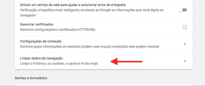 Acesse as configurações para dados de navegação no Google Chrome (Foto: Reprodução/Marvin Costa)