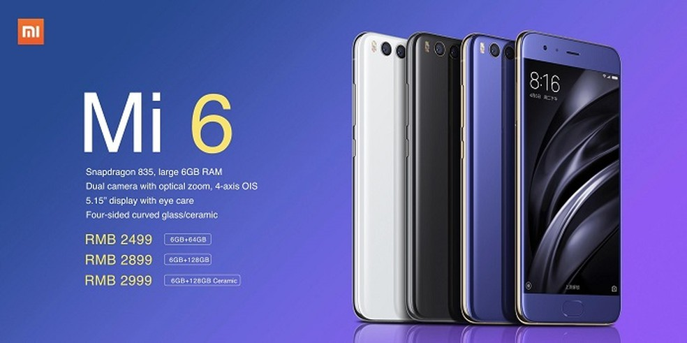 Xiaomi Mi 6 tem preço equivalente a R$ 1.120 (Foto: Divulgação/Xiaomi)