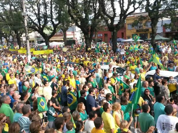 Manifestantes protestam contra o governo federal em Pelotas, RS (Foto: Mateus Marques/RBS TV)