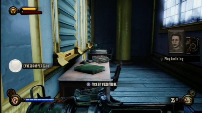 Bioshock Infinite: verifique a mesa encostada na parede para encontrar o Voxophone (Foto: Reprodução/IGN)