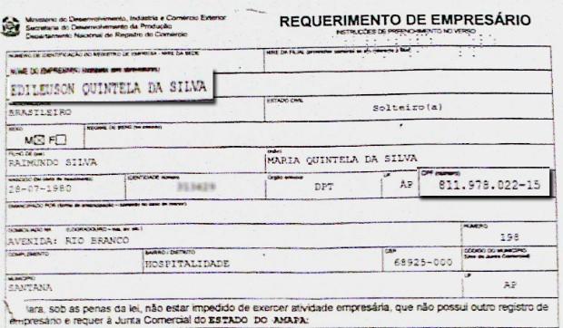 Empresa em nome de Edileuson foi aberta um mês antes da morte de suposto dono (Foto: Reprodução)