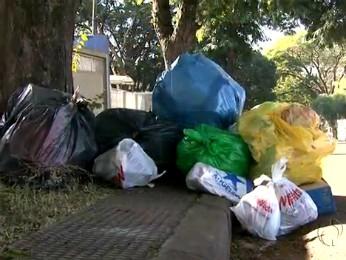 Lixo está acumulado há uma semana nas ruas de Maringá (Foto: Reprodução RPCTV Maringá)