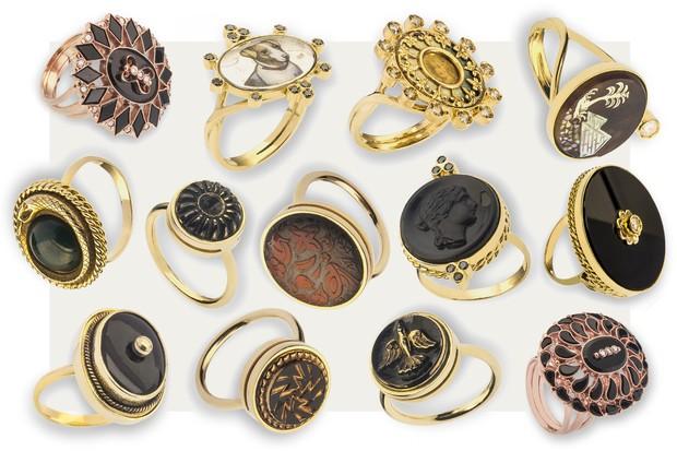 """Os anéis da linha """"Queen Victoria"""" (Foto: Arte Vogue Online)"""