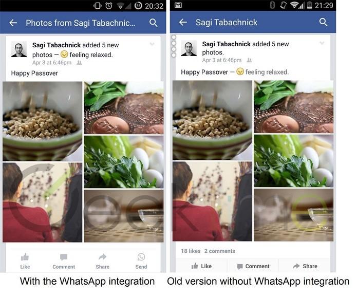 Facebook testa novo botão de compartilhamento direto para o Whatsapp (Foto: Divulgação/Geek Time)