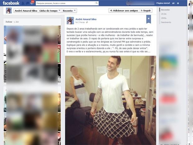André postou a foto no Facebook e tinha mais de 3,5 mil curtidas em 3 horas (Foto: Reprodução / Facebook)
