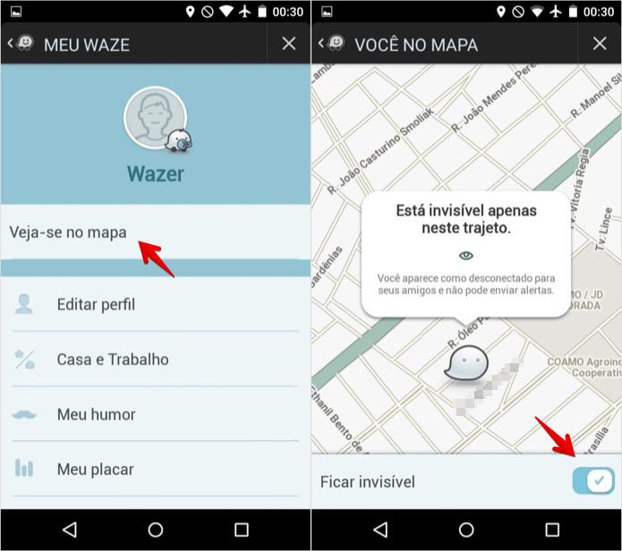 Desativando o modo invisível do Waze (Foto: Reprodução/Helito Bijora)