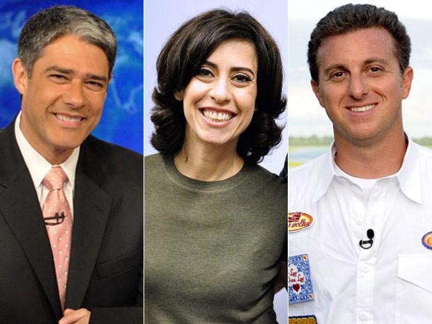 William Bonner, Fernanda Torres e Luciano Huck (Foto: Avenida Brasil/TV Globo)