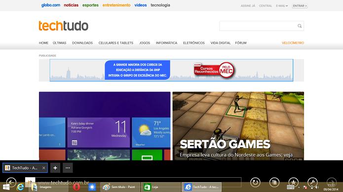 A barra de tarefas pode ser visualizada e acessada em qualquer interface (Foto: Reprodução/Edivaldo Brito)