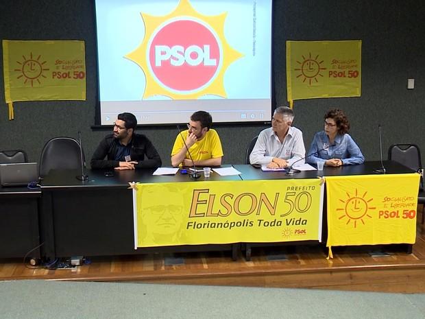 Convensão do PSOL-SC oficializa candidatura de Elson Pereira (Foto: Reprodução/RBS TV)