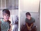 Rihanna brinca com 'clone' de Justin Bieber no banheiro