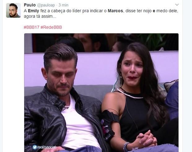 Vai rolar? Emily e Marcos bombam na web (Foto: Reprodução/Twitter)