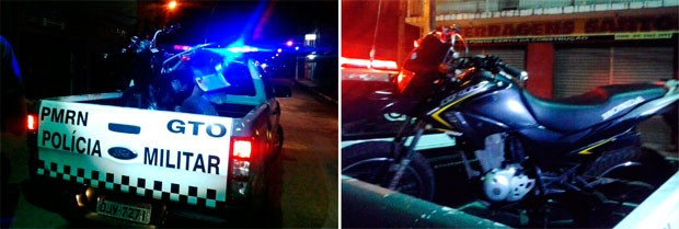 Motocicleta recuperada pela polícia foi levada à delegacia de Plantão da zona Norte (Foto: Soldado Euder Flávio)