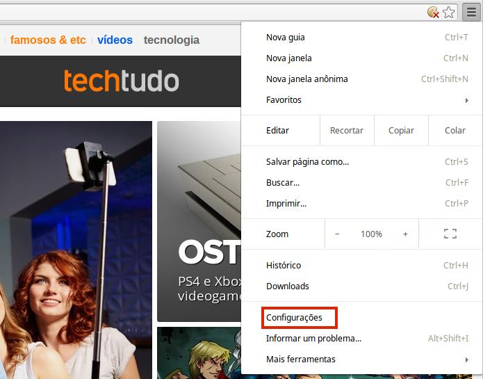 Acessando as configurações do Chrome OS (Foto: Reprodução/Edivaldo Brito)