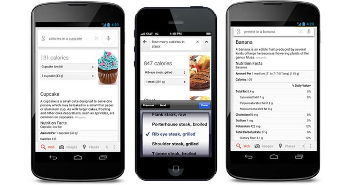 Google lança busca por calorias e dados nutricionais de alimentos