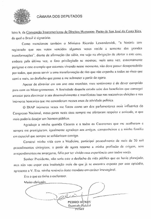 Reprodução da carta de renúncia do deputado Pedro Henry (Foto: Reprodução)