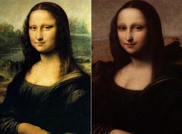 À esquerda, a versão conhecida da 'Mona Lisa', que está no museu do Louvre, e à direita a suposta versão anterior (Foto: Reprodução e Reuters/Denis Balibouse)