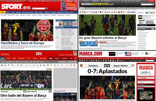 Montagem Jornais Barcelona Bayern de Munique (Foto: Reprodução)